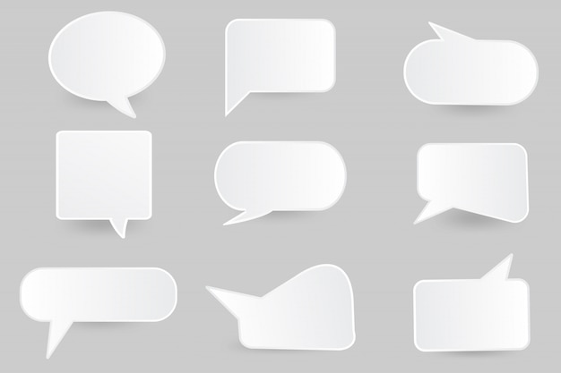 Speech bubble paper cut  design template. Premium Vector