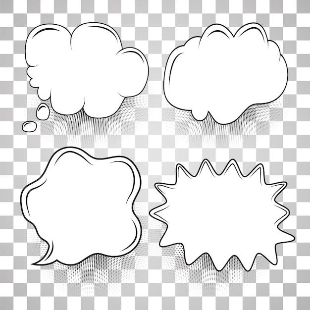Speech bubble set cartoon template Premium Vector