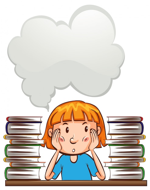speech bubble template with girl and books vector free download