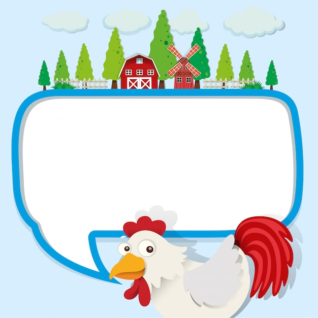 Speech bubble with chicken and farm Free Vector