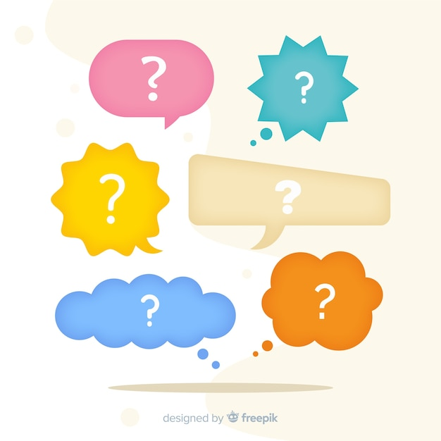 Speech bubble with question marks Free Vector