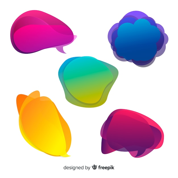 Speech bubbles colorful and gradientvariety Free Vector