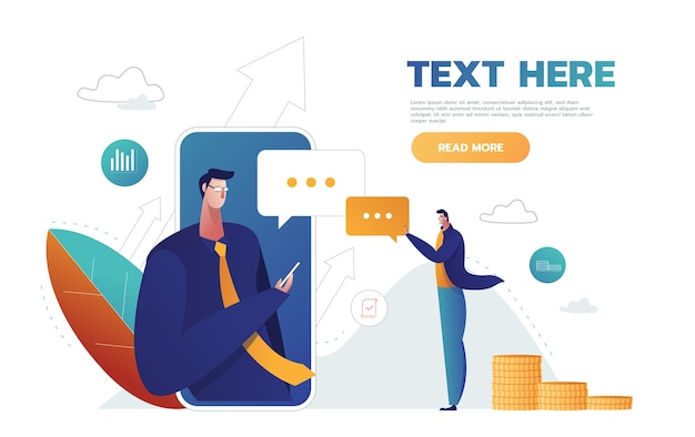 Speech bubbles for comment anf reply concept flat vector illustration of young people using mobile smartphone for texting in social networks Free Vector