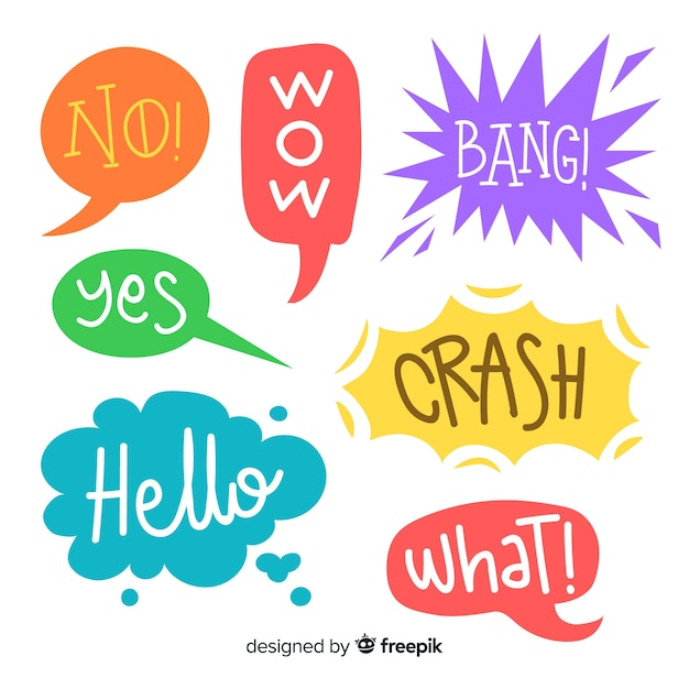 Speech bubbles design and colors variety Free Vector