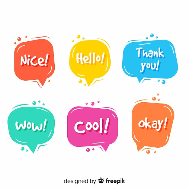 Speech bubbles in different colors with expressions Free Vector
