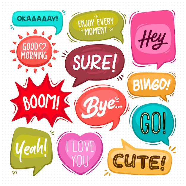 Speech bubbles hand drawn coloring Free Vector