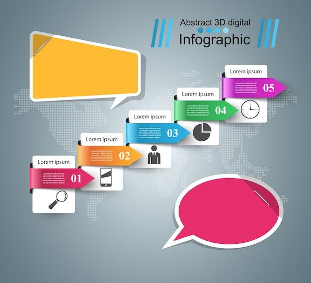 Значок пузырьков речи. информация о диалоговом окне. абстрактная инфографика Premium векторы