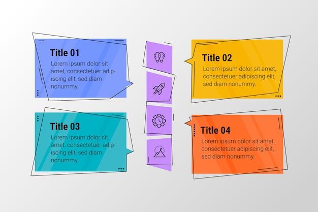 Infographics di bolle di discorso in design piatto Vettore gratuito