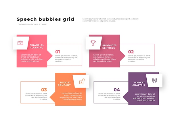 Speech bubbles infographics in flat design Free Vector