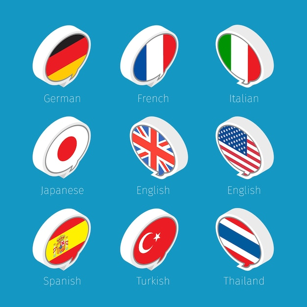 Speech bubbles, languages icons with countries flags. Premium Vector