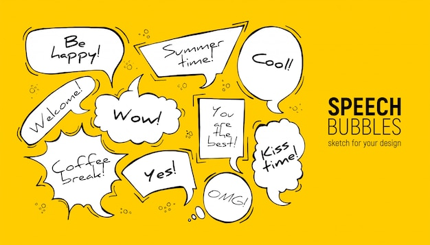 Speech bubbles in rectangle, circle, oval, cloud, square, explosion forms. Premium Vector