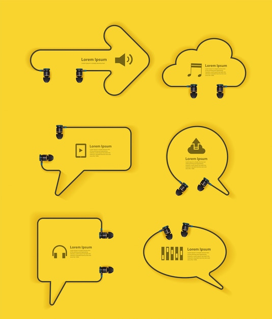 Speech bubbles and signboard made with headphones Premium Vector