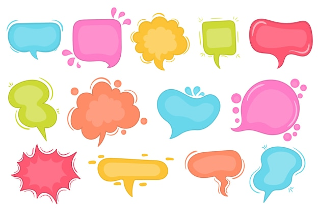 Speech bubbles sketch comic speech bubbles set. vector illustration of chat word bubbles, hand drawn cloud, banner in comic style isolated on background. abstract concept graphic element of chat text Premium Vector
