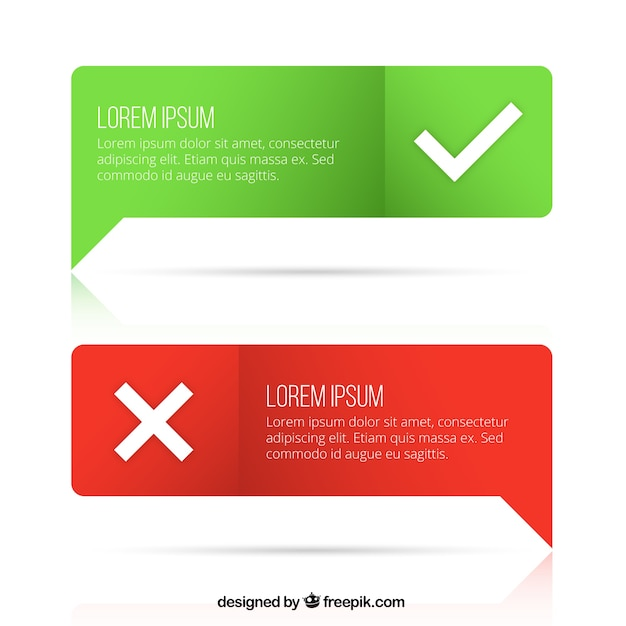 Speech bubbles with check marks Free Vector