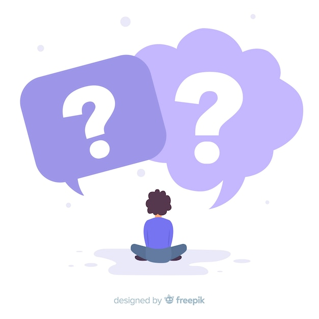Speech bubbles with question marks Free Vector