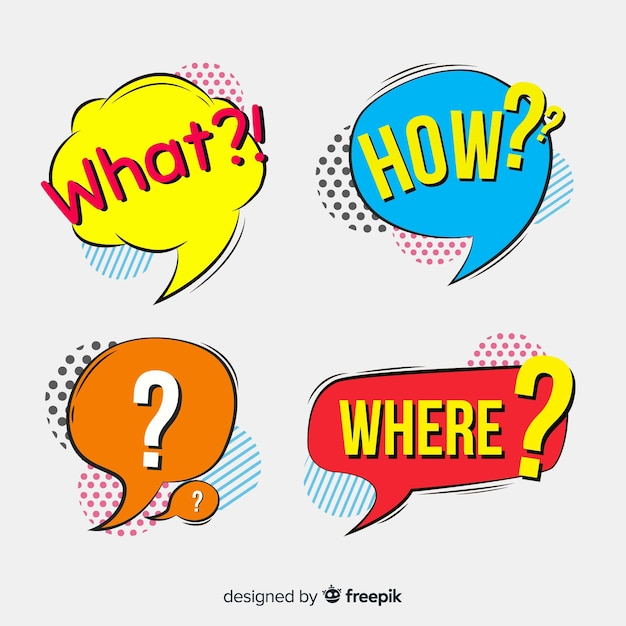 Speech bubbles with questions Free Vector