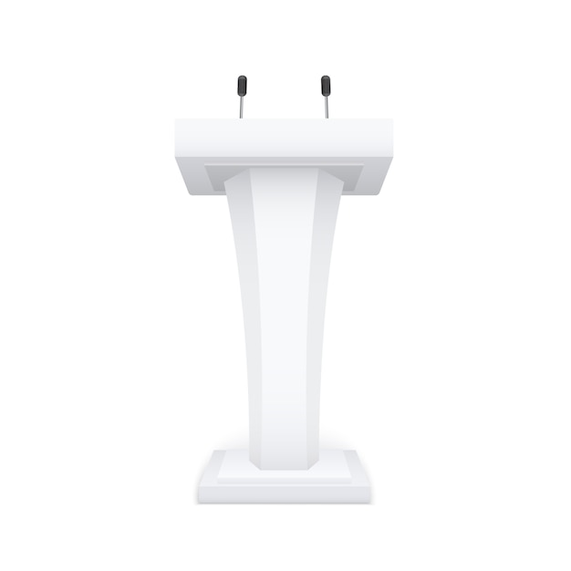 Speech stand with microphone Premium Vector