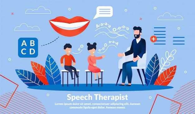 Speech therapist practice  banner template Premium Vector