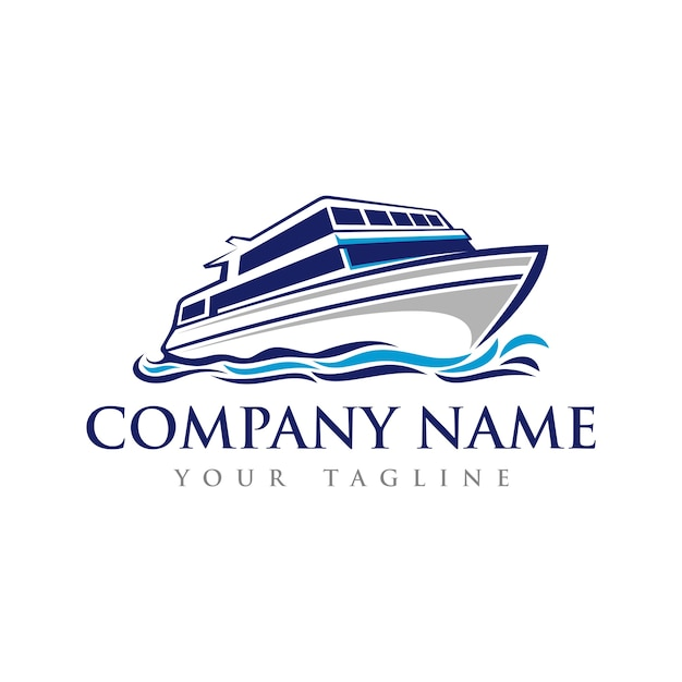 Speed boat on the sea logo template Premium Vector