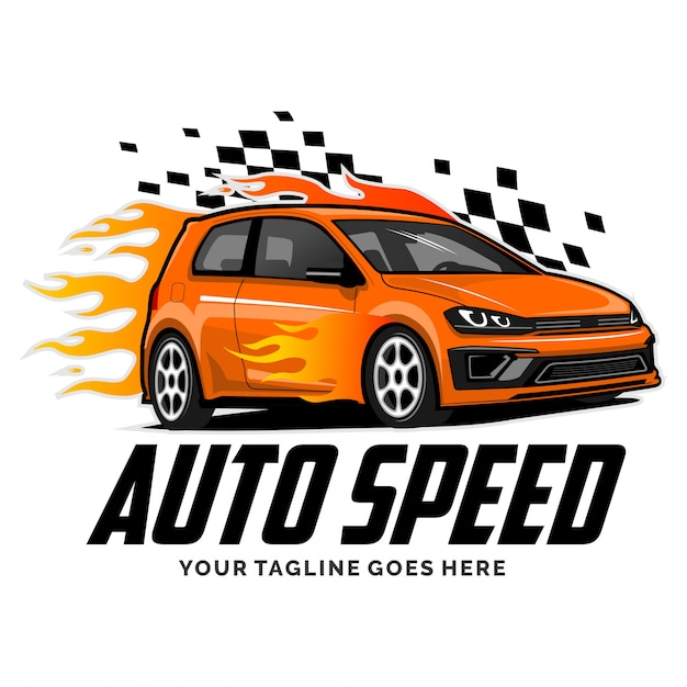 Speed car logo with flame design inspiration Premium Vector