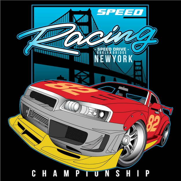 Speed champ in the city Premium Vector