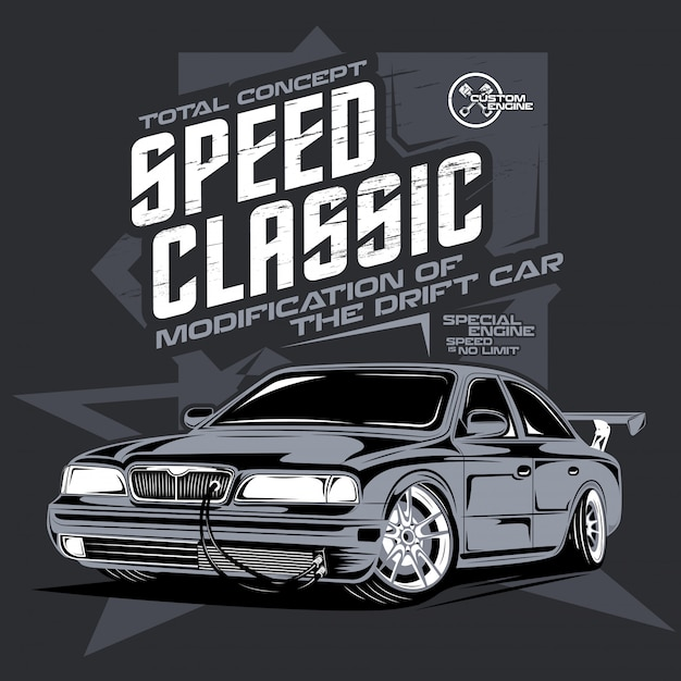 Speed classic car, illustration of a drift sports car Premium Vector