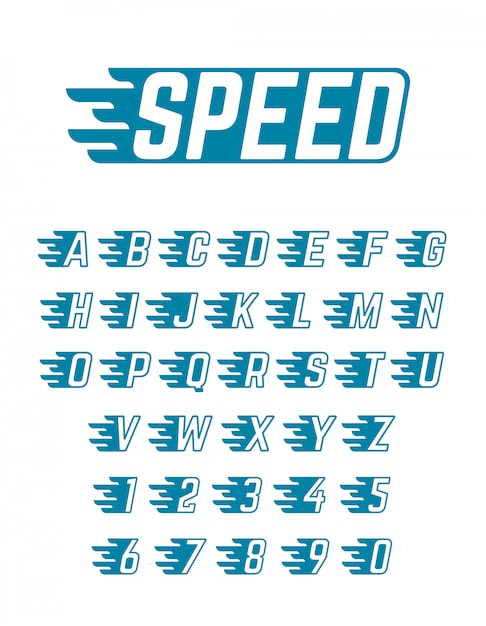 Speed flying vector alphabet. fast symbols typeface for racing car team, retro posters and sportswear Premium Vector