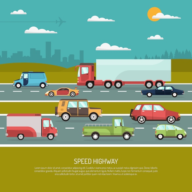 Speed highway illustration Free Vector