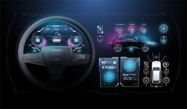 スピードハッドキロメートルパフォーマンスインジケーターダッシュボード。車のインストルメントパネル。タコメータ、データ表示およびナビゲーション。仮想グラフィカルインターフェイスuihudautoscann。仮想グラフィック。 Premiumベクター
