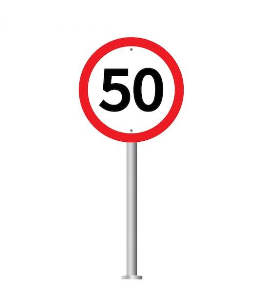 Speed limit traffic sign. Premium Vector