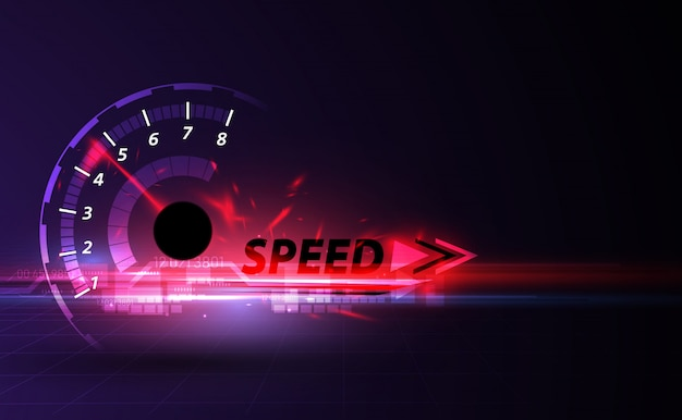 Speed motion background with fast speedometer car Premium Vector