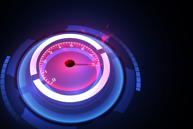 Speed motion background with fast speedometer car. Premium Vector