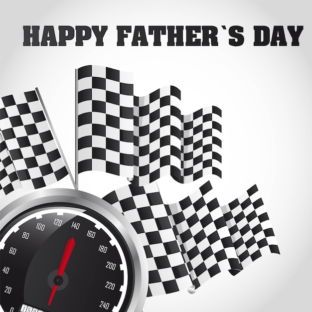 Speed racing happy fathers day card vector illustration Premium Vector