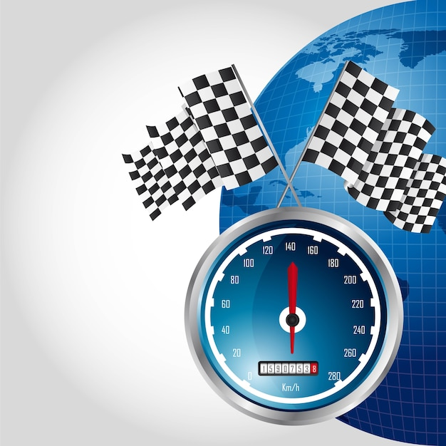 Speed racing with checkered flag Premium Vector