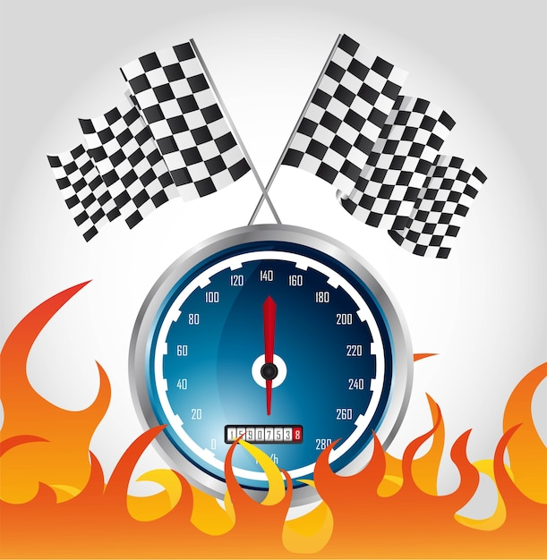 Speed racing with fire and checkered flags Premium Vector