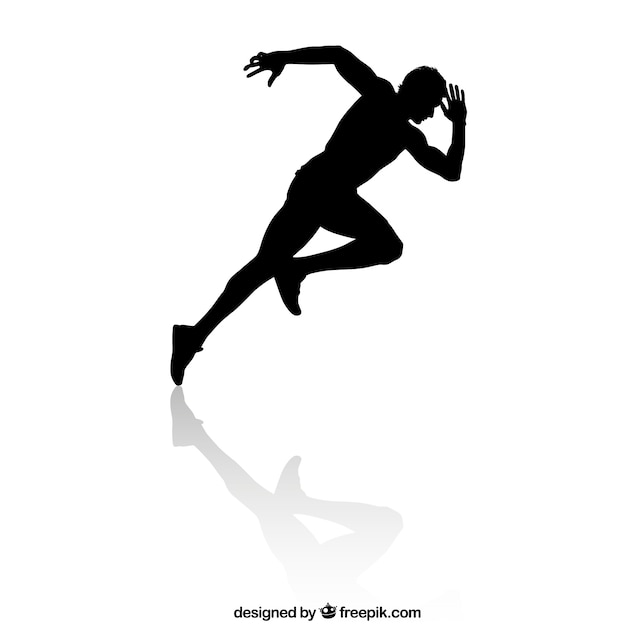 Speed runner silhouette Premium Vector