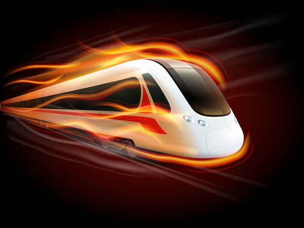 Speed train fire black background design Free Vector