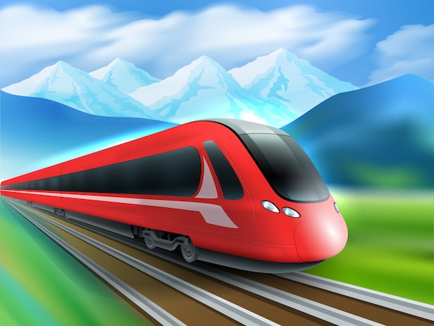 Speed train mountains background realistic poster Free Vector