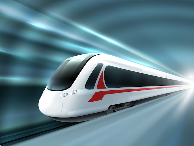Speed train railway station realistic poster Free Vector