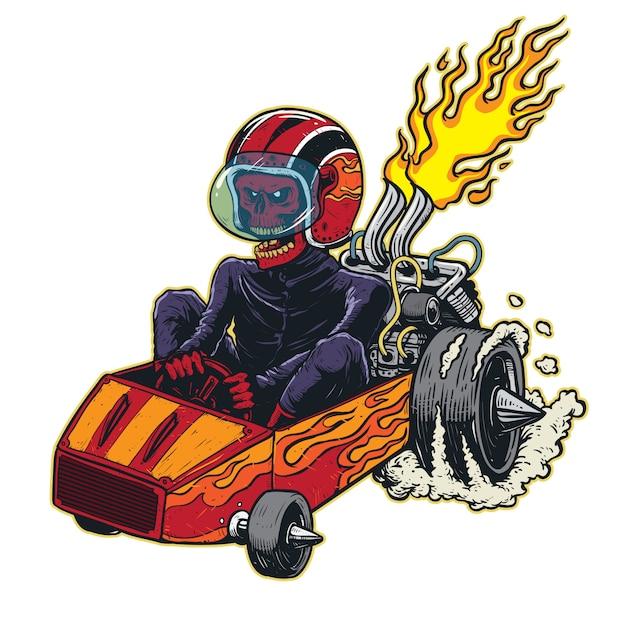 Speeding skull kart racer   illustration Premium Vector