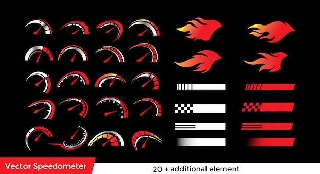 Speedometer element pack Premium Vector