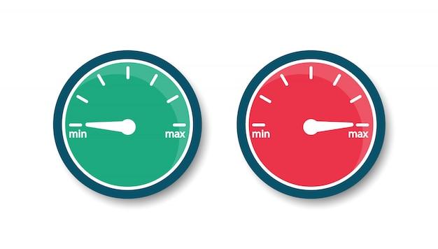Speedometer from minimum to maximum. internet speed. icon gauge. flat style. Premium Vector