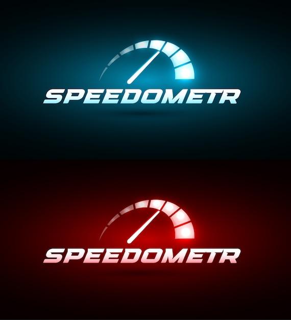 スピードメーターのアイコン。青と赤の光る速度インジケーターセット Premiumベクター