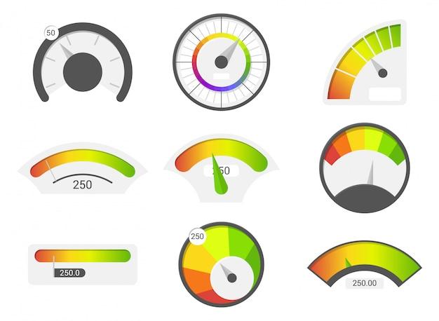 Speedometer icons. credit score indicators. speedometer goods gauge rating meter. Premium Vector