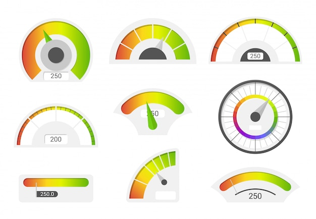 Speedometer icons. credit score indicators. speedometer goods gauge rating meter. Premium Vector