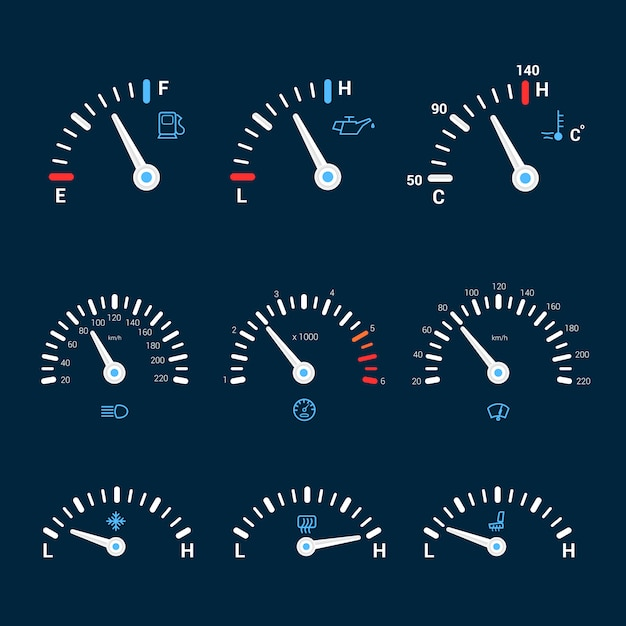 Speedometer interface icons Free Vector