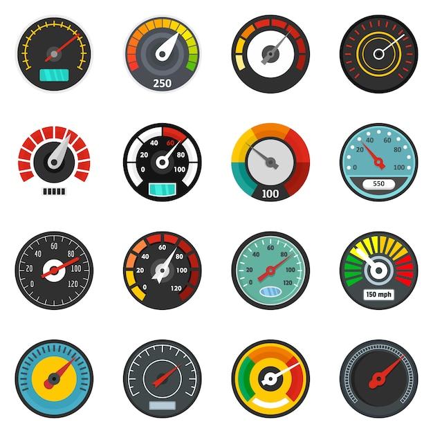Speedometer level indicator icons set Premium Vector