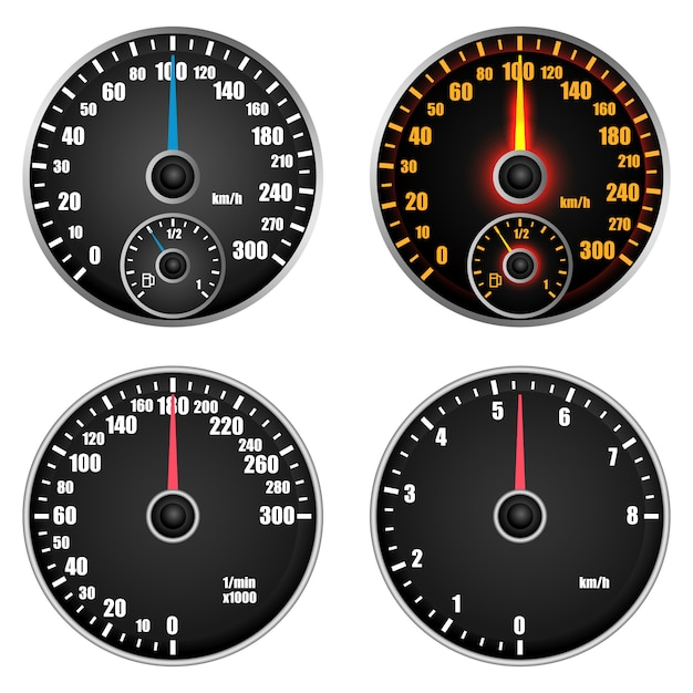 Speedometer level indicator mockup set Premium Vector