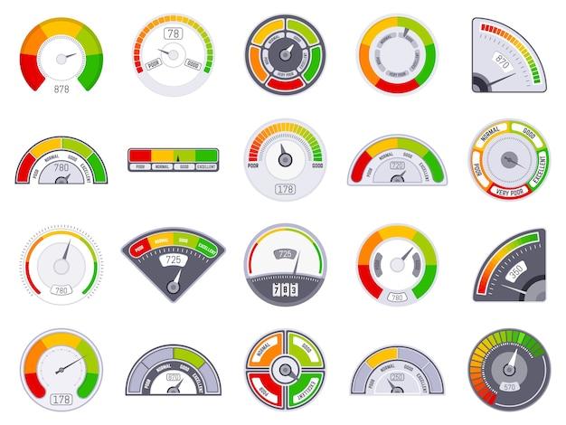 スピードメーターのスコアレベル。良いと低い評価表示、商品スピードメーターレベル、満足度スコアタコメーターインジケーターアイコンセット。スコアレベルの測定、顧客ゲージの図の評価 Premiumベクター