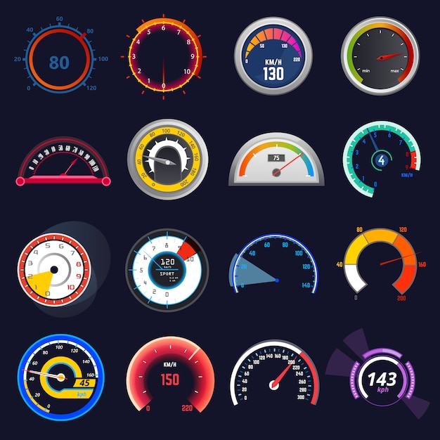 Speedometer vector car speed dashboard panel and speed-up power measurement illustration set Premium Vector